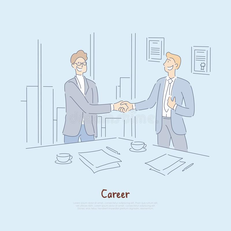 Striking deal, interview success, signing employment papers and contract, businessmen meeting in office banner stock illustration