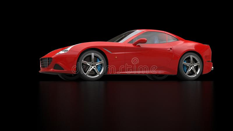Striking red fast sports car - low angle shot. Isolated on black reflective background royalty free stock photo
