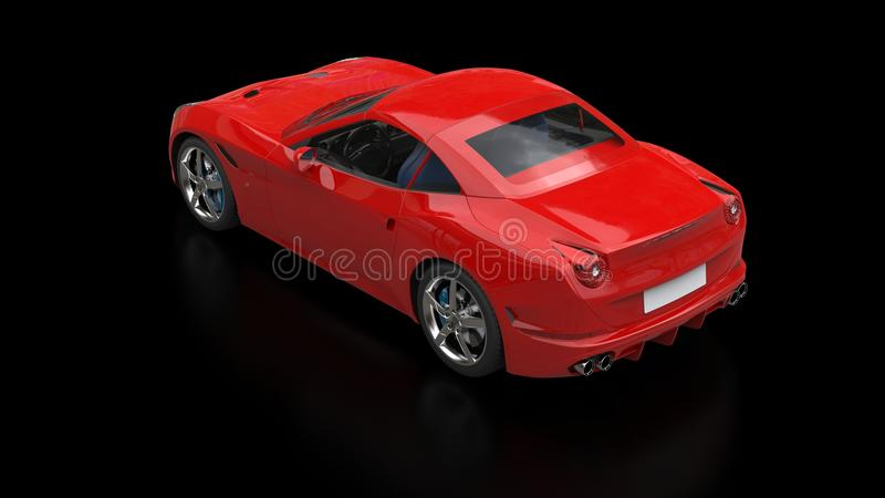 Striking red fast sports car - top view. Isolated on black reflective background stock photography