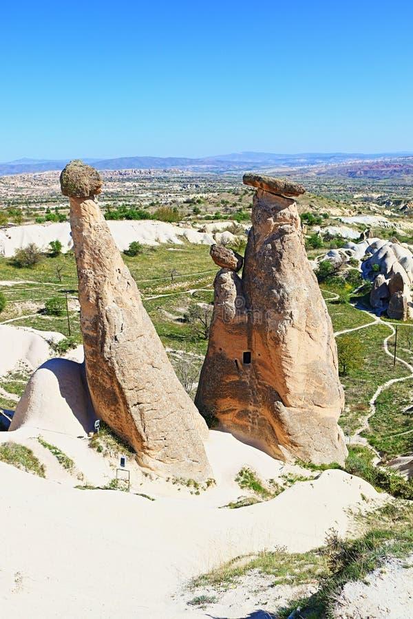 Three beauties of Ürgüp Cappadocia landscape Turkey royalty free stock photography