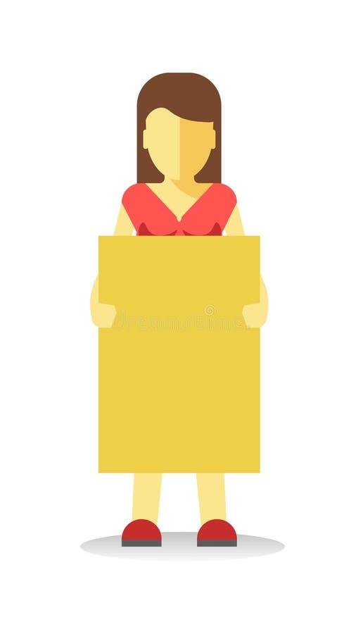 Striking woman holding empty yellow banner. Vector illustration vector illustration
