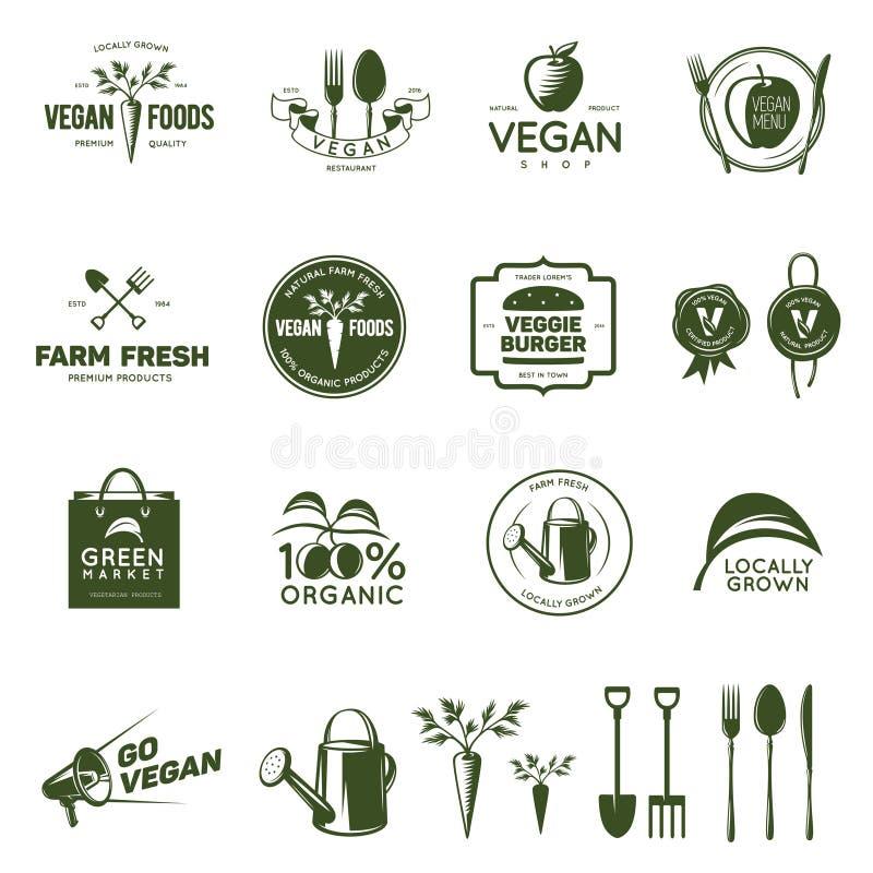 Strikt vegetarian släkt tappning förser med märke, etiketter och designbeståndsdelar royaltyfri illustrationer