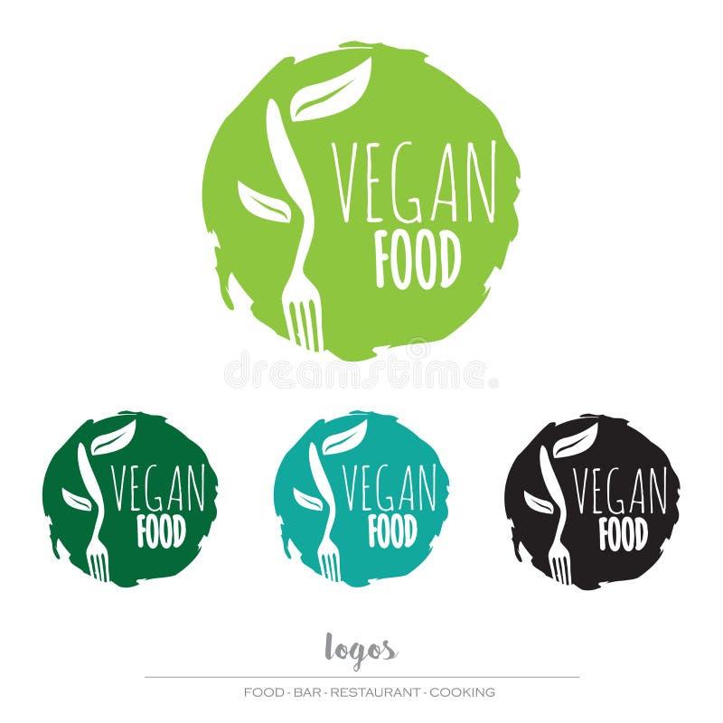Strikt vegetarian vegetarisk matlogo stock illustrationer