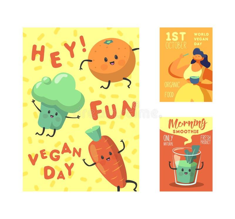 Strikt vegetariandagaffisch, baner, reklamblad Vegetarisk feriedesign för värld med roliga grönsaker och organisk mat äta som är  vektor illustrationer