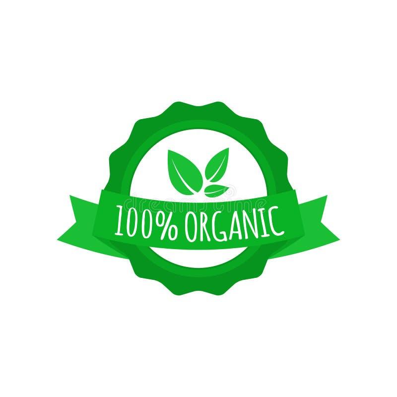 Strikt vegetarianemblem Rund logo för organisk mat med bandet Etikett för kafét, restauranger, förpackande design också vektor fö royaltyfri illustrationer