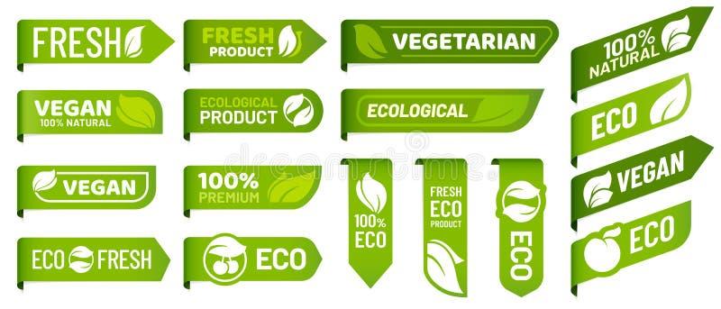 Strikt vegetarianfläcketiketter Nya vegetariska produkter, organisk mat för eco och den rekommenderade sunda produktklistermärken royaltyfri illustrationer