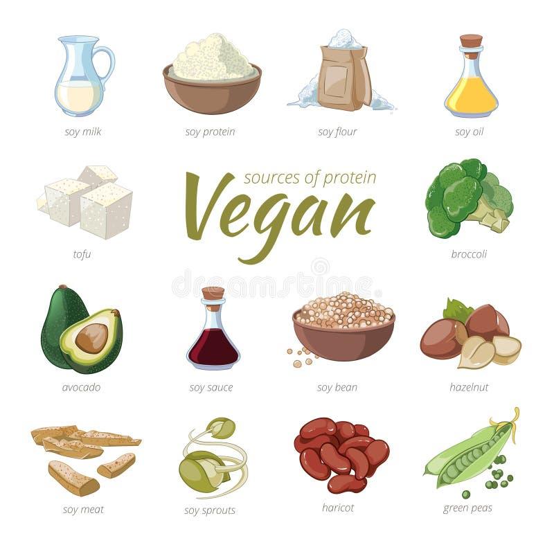 Strikt vegetariankällor av protein Baserat protein för växt vektor illustrationer