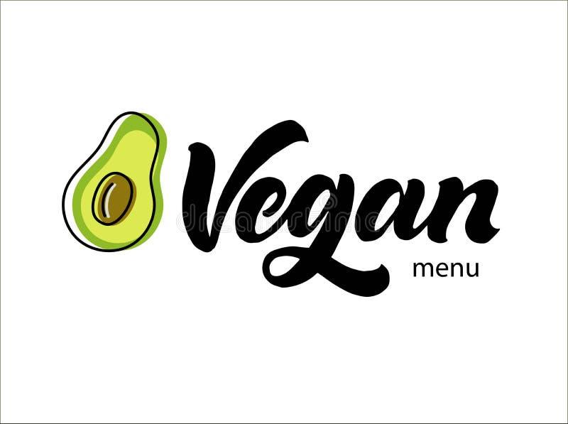 Strikt vegetarianlogotyp Handskriftkalligrafibokstäver med avokadovektorillustrationen Modern moderiktig logo för stil för borste royaltyfri illustrationer