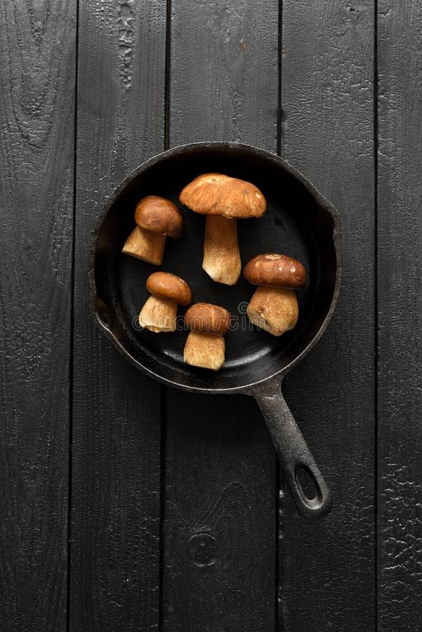 Strikt vegetarianmål Skogchampinjoner som är klara för att steka Porcini sopp royaltyfri fotografi