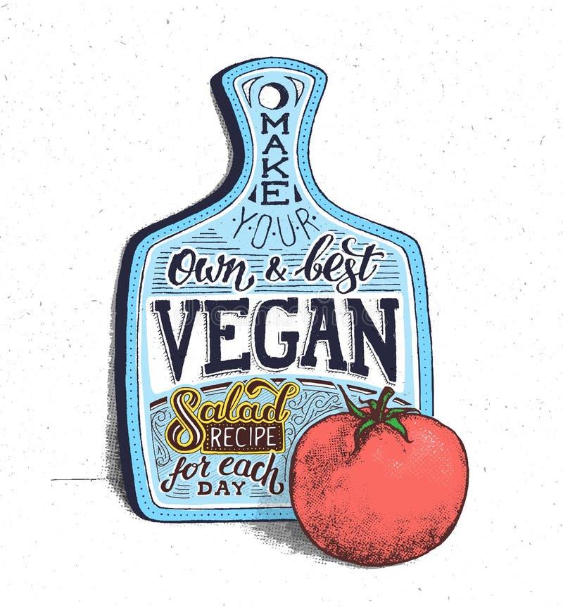 Strikt vegetarianmat Motivational citationstecken tappning för Kalifornien affischsteamers vektor illustrationer