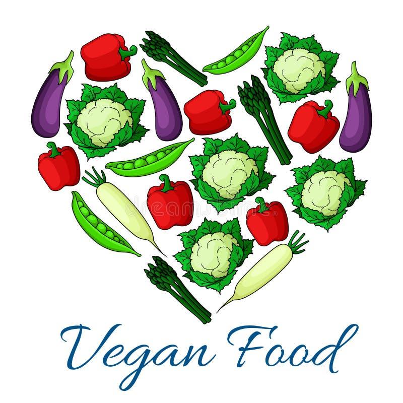 Strikt vegetarianmatemblem av grönsakskörden royaltyfri illustrationer
