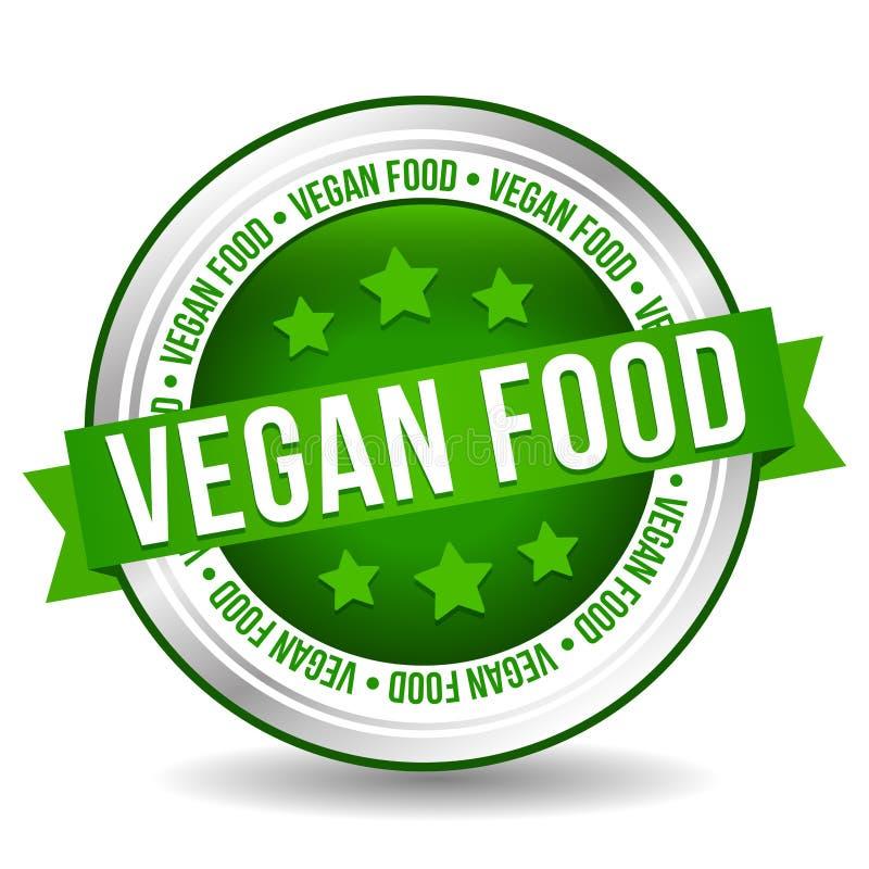 Strikt vegetarianmatemblem - online-knapp - baner med bandet royaltyfri illustrationer