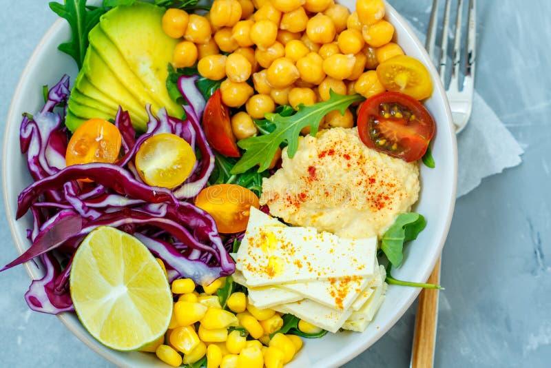 Strikt vegetariansallad med hummus, tofuen, kikärtar och grönsaker royaltyfri bild