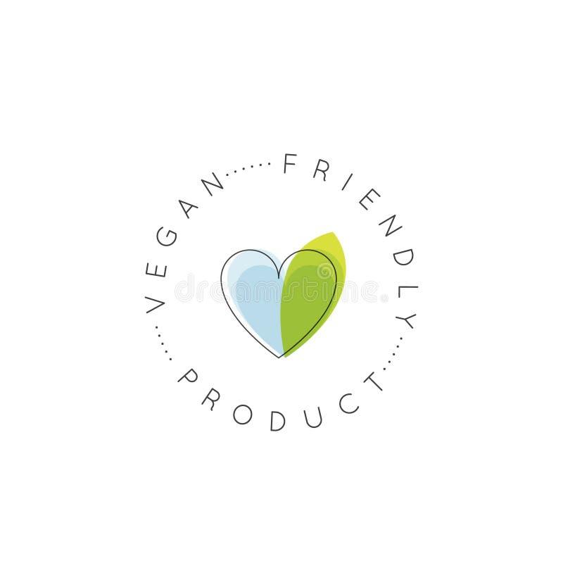 Strikt vegetarianvänskapsmatch, nytt organiskt, Eco produkt, Bio ingrediensetikett med bladet stock illustrationer