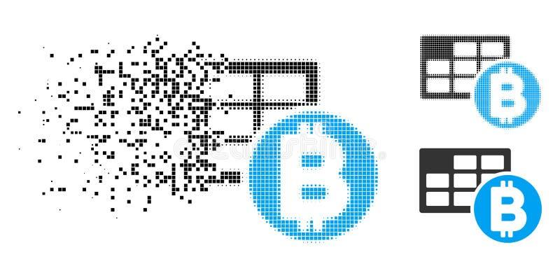 Strimlad för Bitcoin för PIXEL rastrerad symbol tabell vektor illustrationer