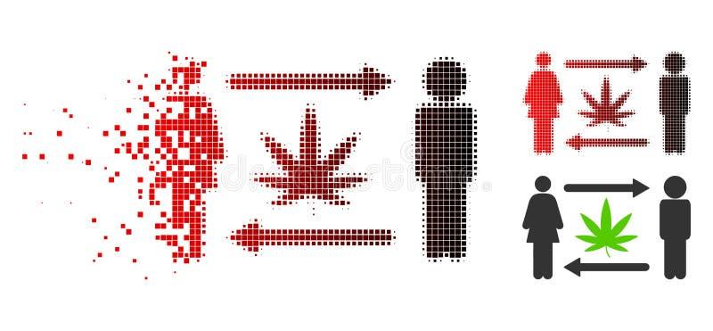 Strimlad för folkutbyte för PIXEL rastrerad symbol för cannabis stock illustrationer