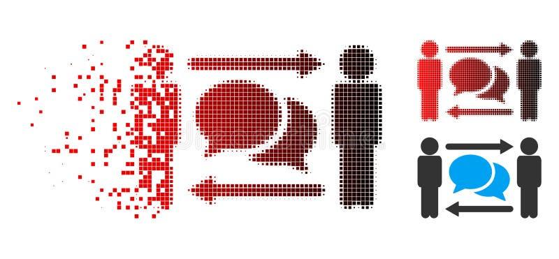 Strimlad för personutbyte för PIXEL rastrerad symbol för meddelanden stock illustrationer