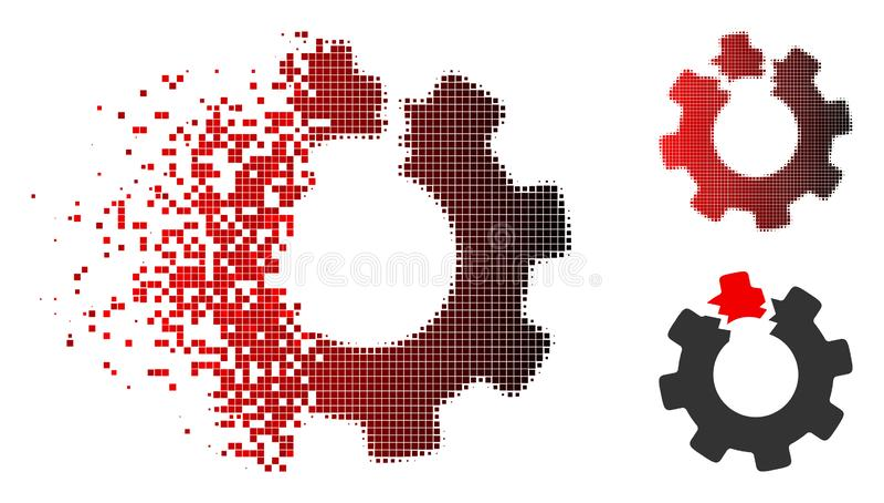 Strimlad Pixelated rastrerad bruten kuggesymbol stock illustrationer