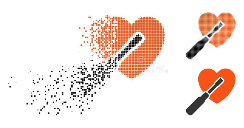 Strimlad rastrerad hjärta för PIXEL som trimmar symbolen stock illustrationer