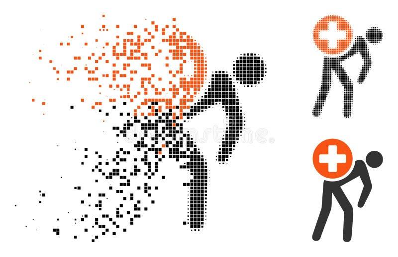 Strimlad rastrerad läkarbehandlingkurir Icon för PIXEL stock illustrationer