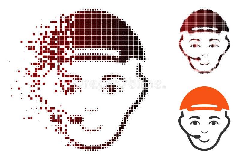 Strimlad symbol för Pixelated rastrerad operatörshuvud royaltyfri illustrationer