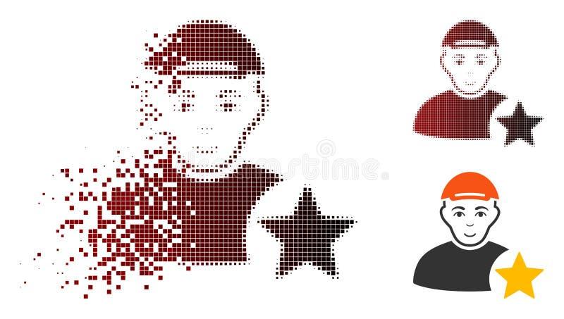 Strimlad symbol för stjärna för Pixelated rastrerad användarevärdering med framsidan stock illustrationer