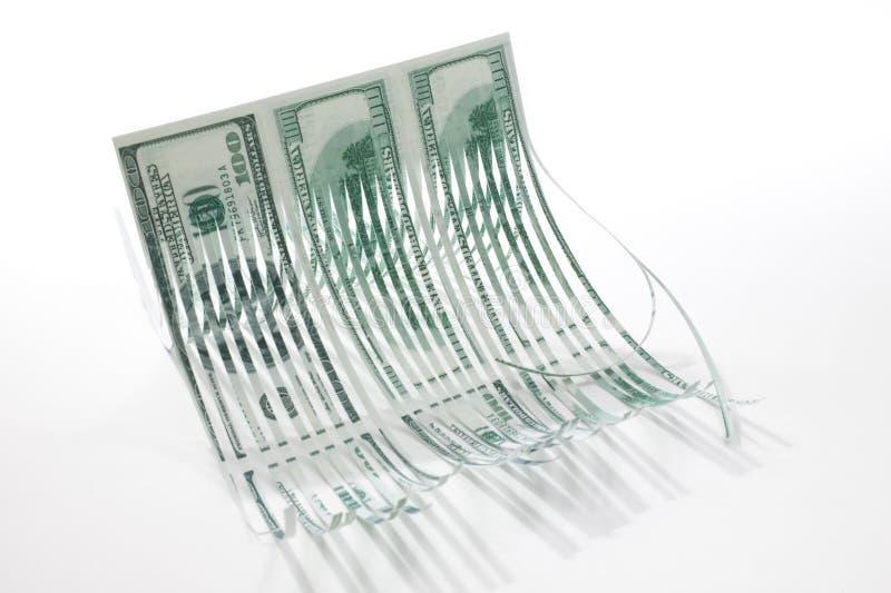 strimlade pengar royaltyfria bilder