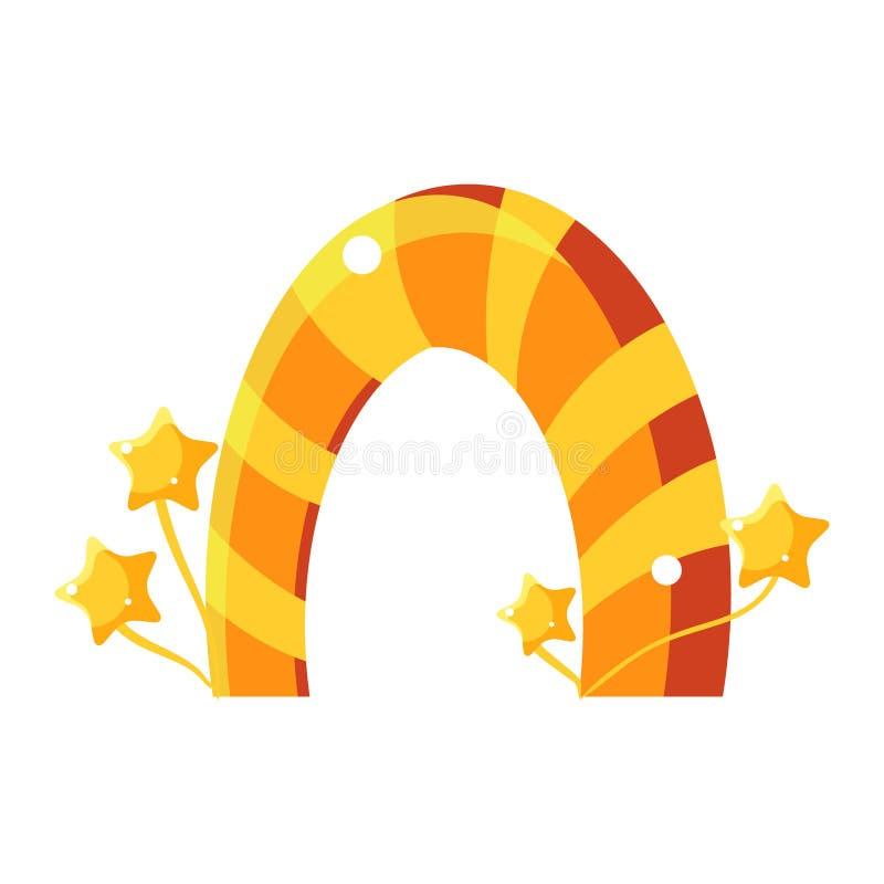 Strimmig båge för apelsin- och gulingkaramell, ganska landskap beståndsdel för sagagodisland i barnslig färgrik design stock illustrationer