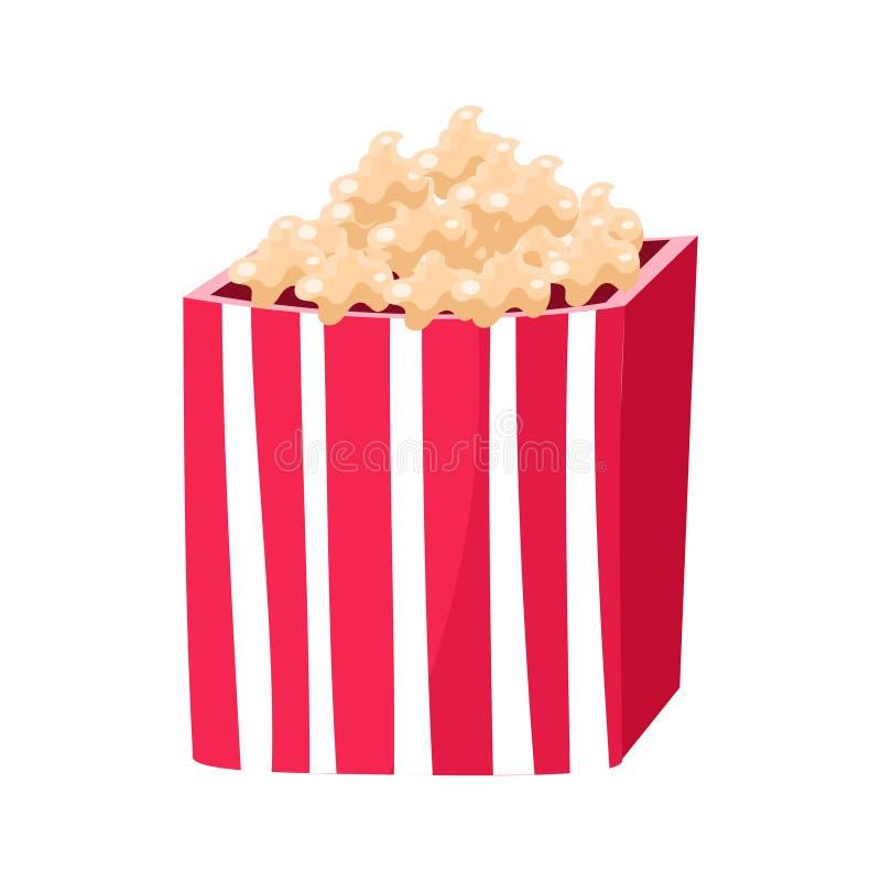 Strimmig pappers- hink med popcornmellanmålet, bion och illustrationen för vektor för tecknad film för objekt för filmteater den  stock illustrationer