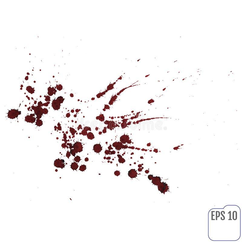 Strimmor av röd flytande på en vit bakgrund Blodsprej royaltyfri illustrationer
