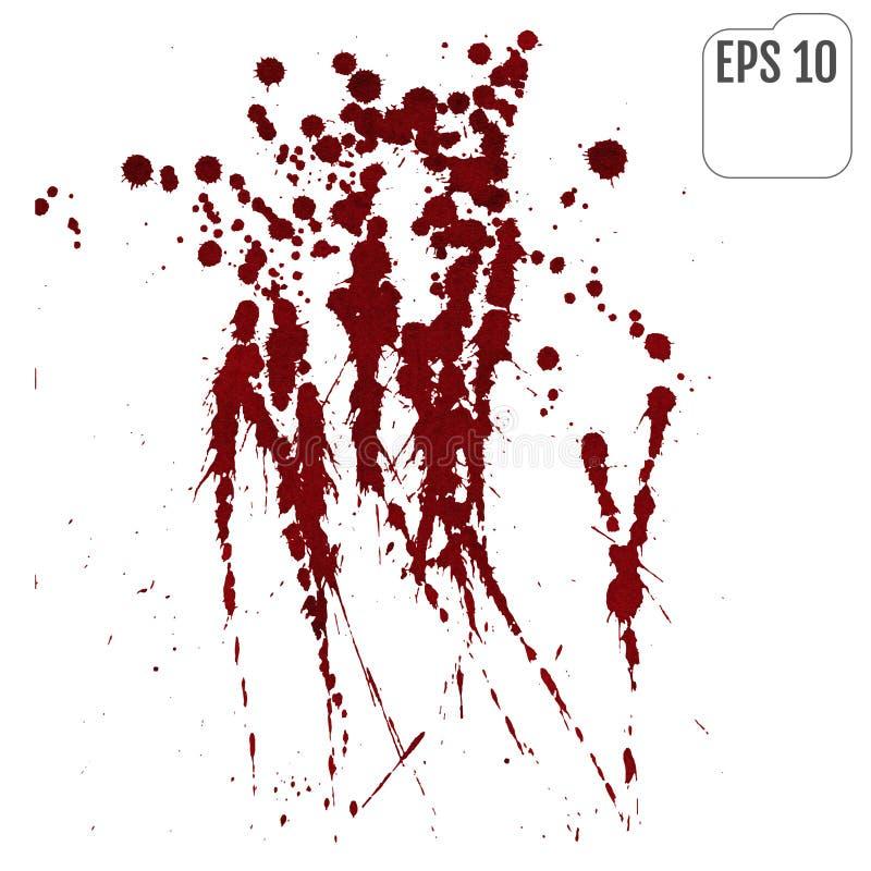 Strimmor av röd flytande på en vit bakgrund Blodsprej stock illustrationer