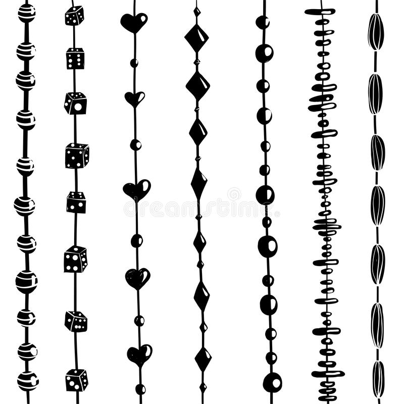 String of Beads Set Black and White Illustration. Beads on a string collection. Vector EPS8 vector illustration