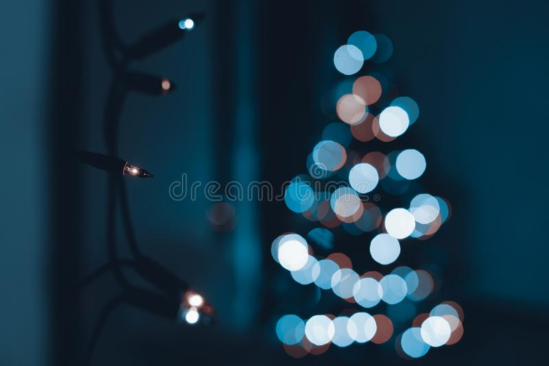 String of Christmas lights hanging on the wall, with defocused xmas tree in the background. Christmas lights bokeh. stock photography