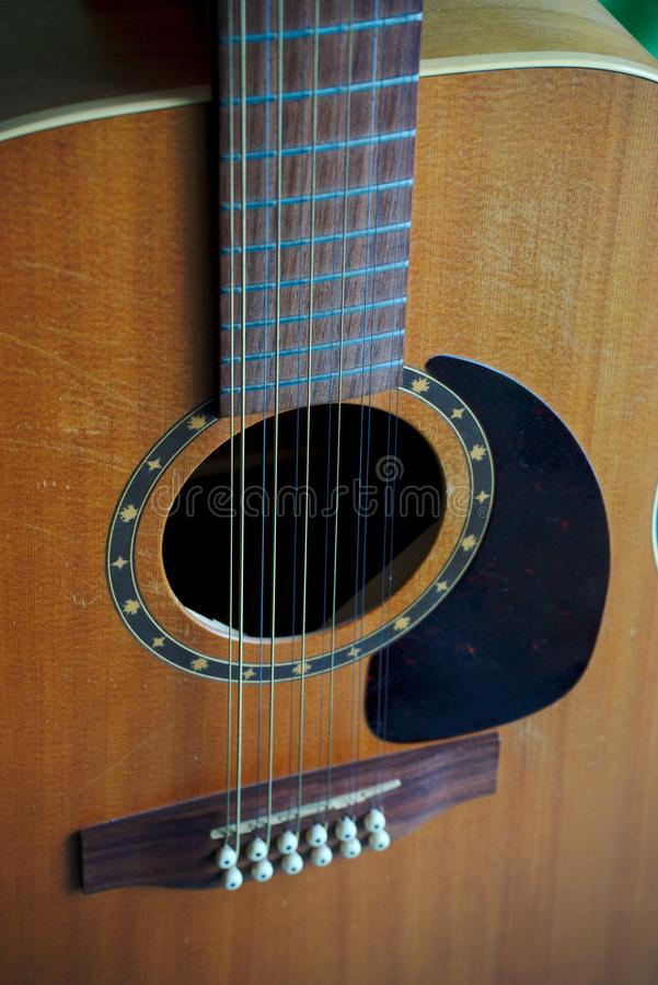 12-string electro-acoustic guitar stock photo
