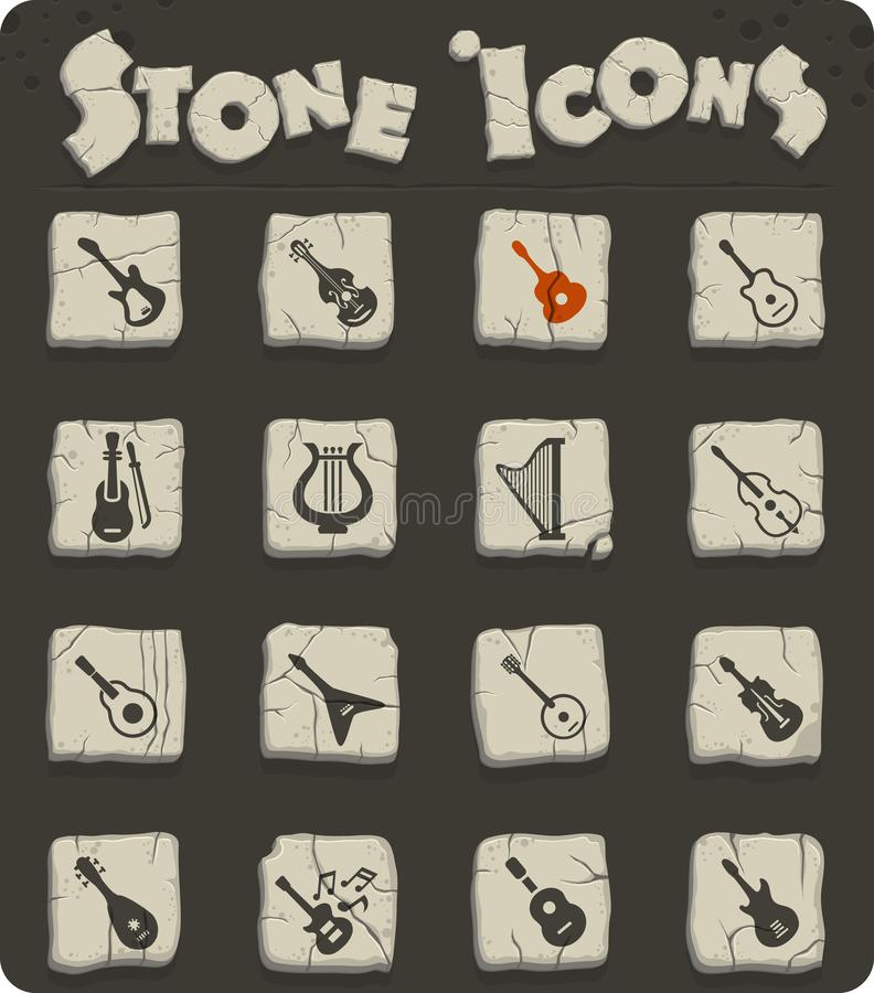 String instruments icon set. String instruments web icons for user interface design royalty free illustration