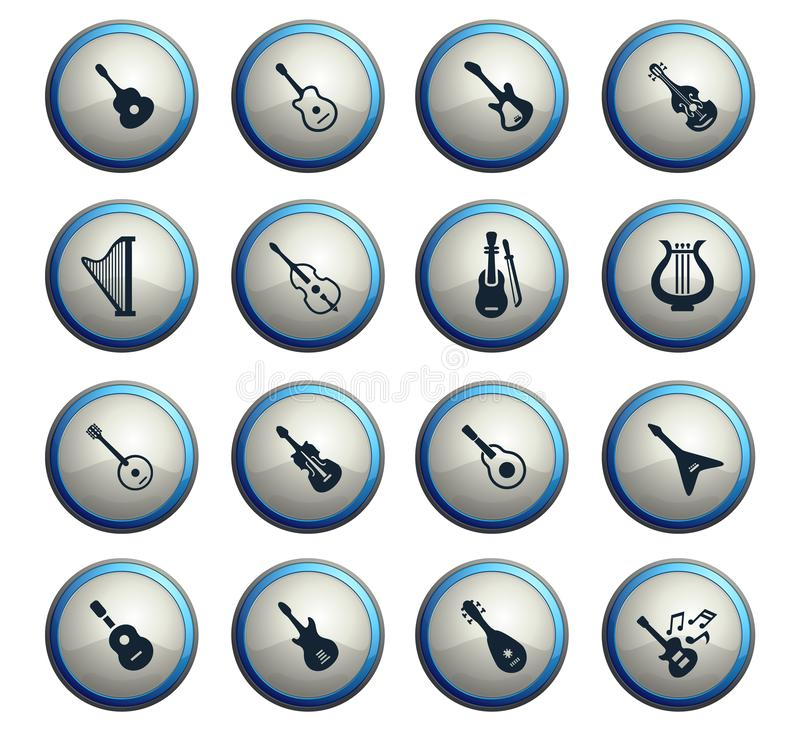 String instruments icon set. String instruments web icons for user interface design stock illustration