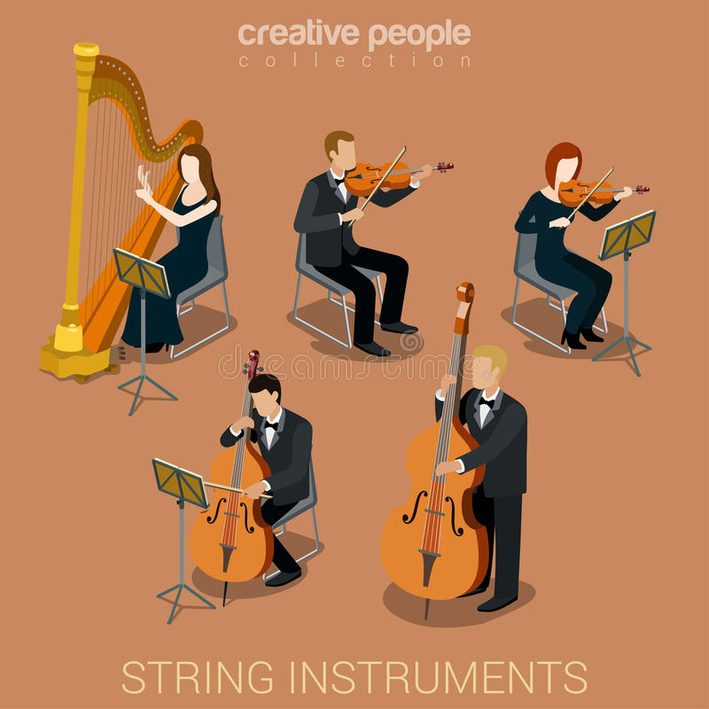 String instruments and musicians. String instrument musicians flat 3d web isometric infographic concept vector. Group of creative young people playing on classic royalty free illustration