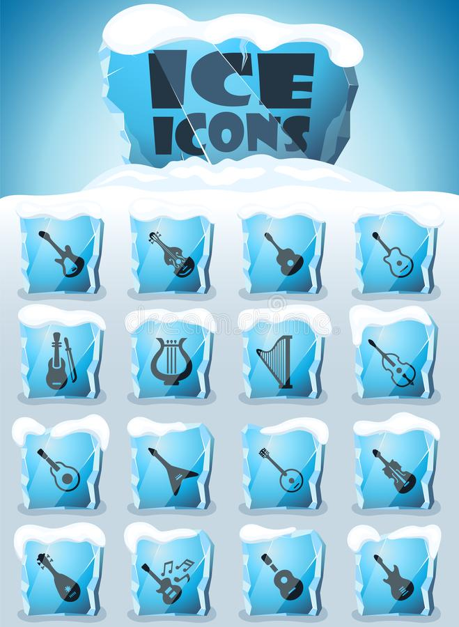 String instruments icon set. String instruments vector icons frozen in transparent blocks of ice vector illustration