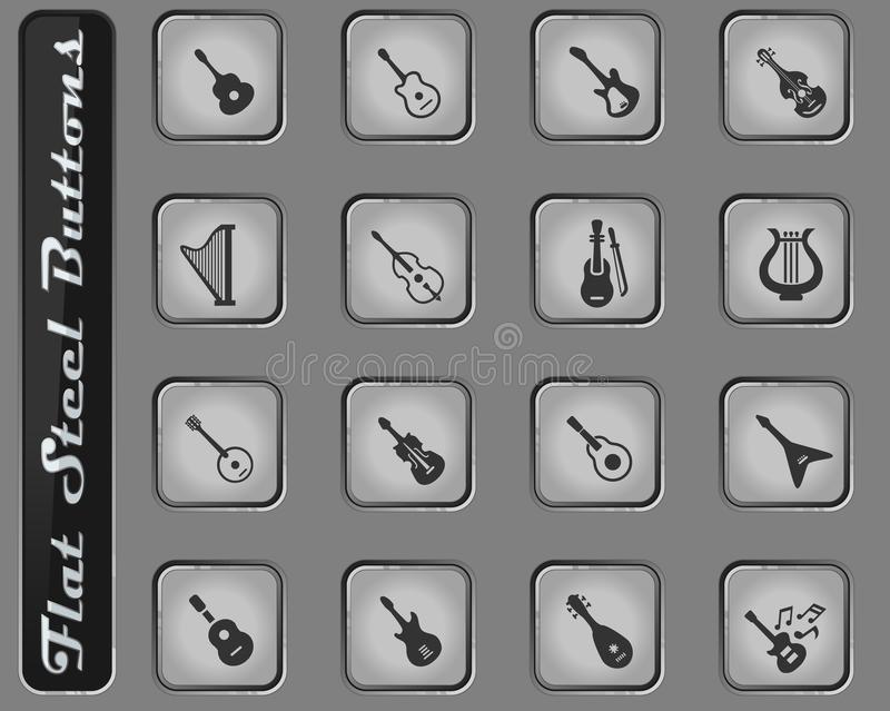 String instruments icon set. String instruments vector web icons on the flat steel buttons vector illustration