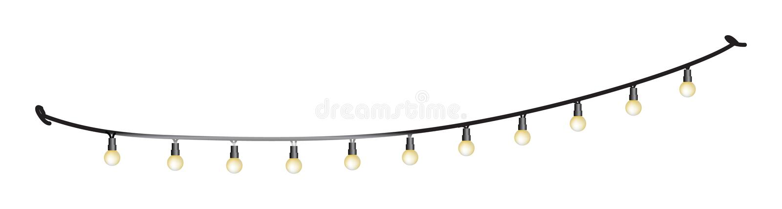 String Lights for the Patio. Vector image of light bulbs hanging on a string vector illustration
