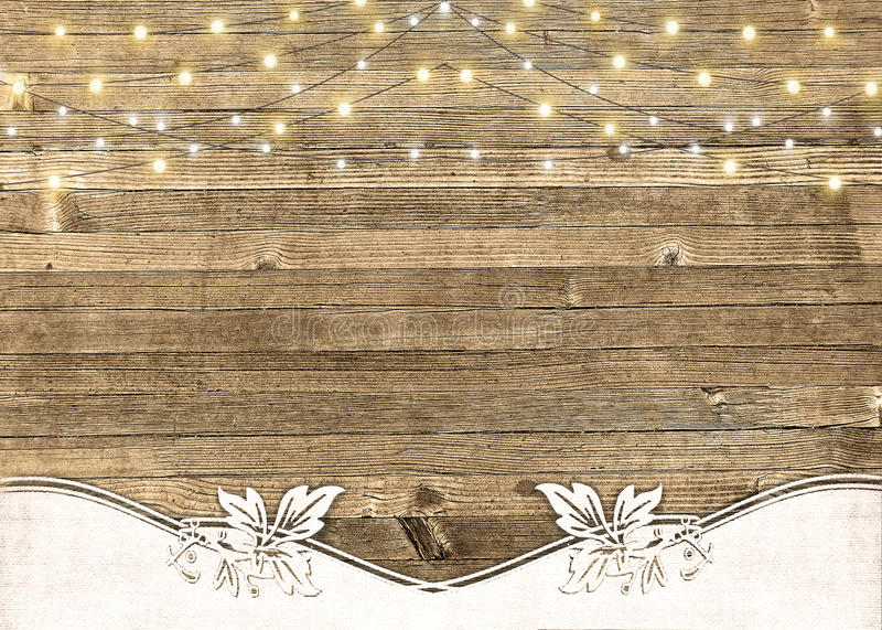 Download String Of Lights On Rustic Wood Stock Photo