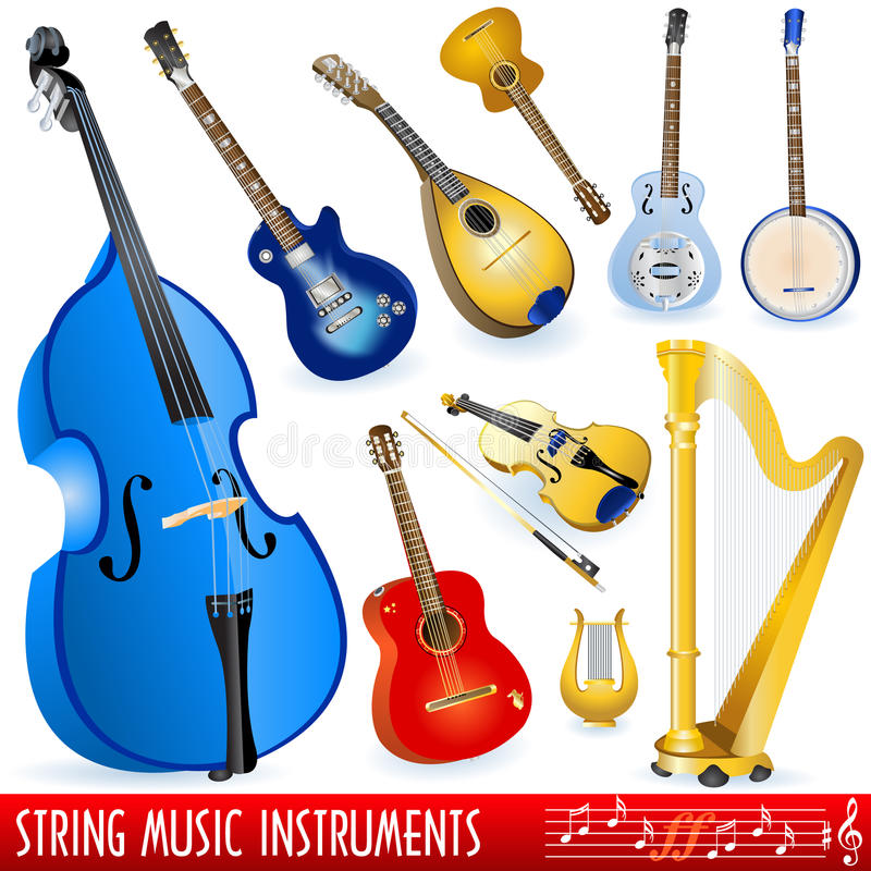 String musical instruments. A collection of different string musical instruments royalty free illustration