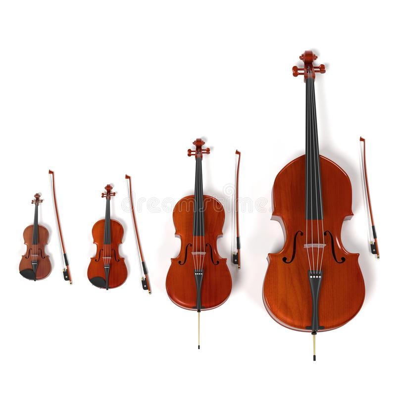 String musical instruments. 3d rendering of string musical instruments stock illustration