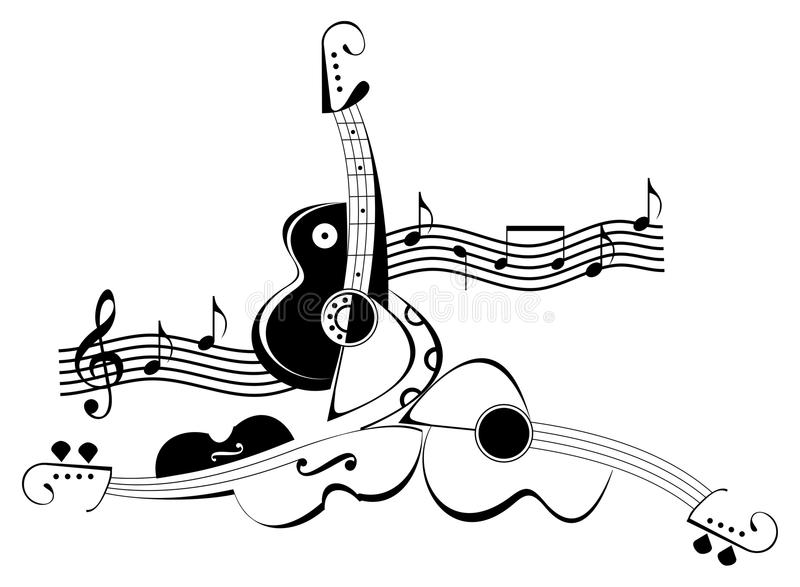 String musical instruments - violin and guitar. String musical instruments and notes - vector illustration. Black and white decoration, stylized tattoo vector illustration