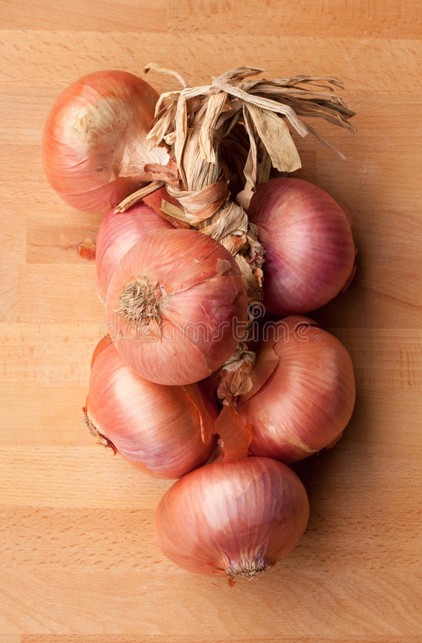 Download String of onions stock photo. Image of bunch, woode, table - 23591020
