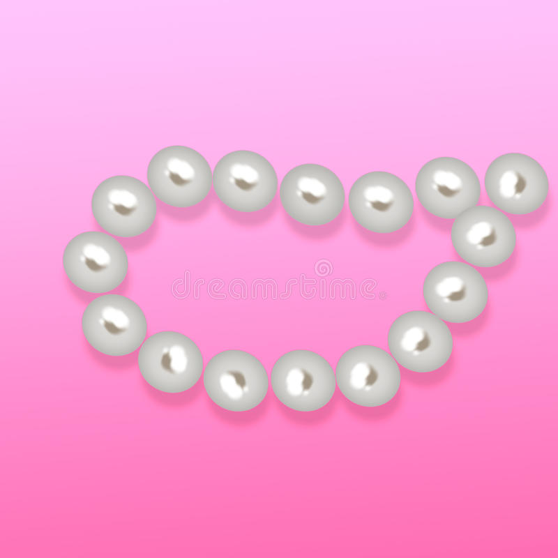 The string of Shiny White pearls isolated on white background. Icon stock illustration
