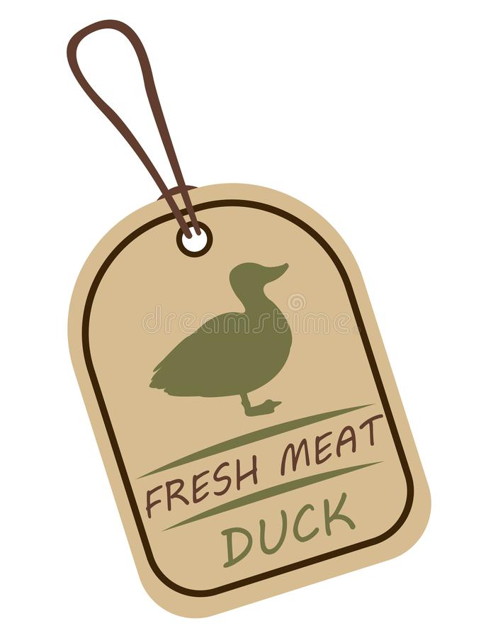 String tag, meat label duck. String tag, meat label. Label with illustration of duck. Price list for duck meat. Meat tag with duck image vector illustration