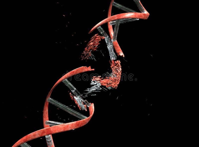 Stringa del DNA con il percorso di residuo della potatura meccanica fotografia stock libera da diritti