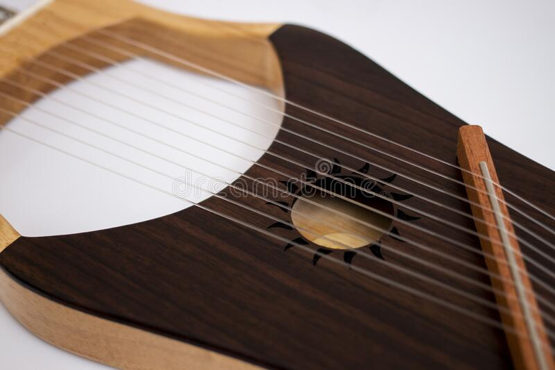 Stringed lyre musical instrument stock photos