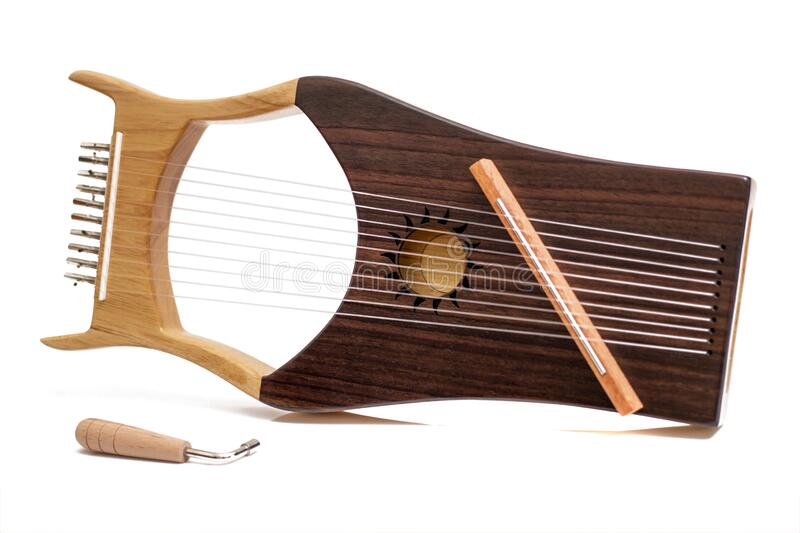 Stringed lyre musical instrument stock image
